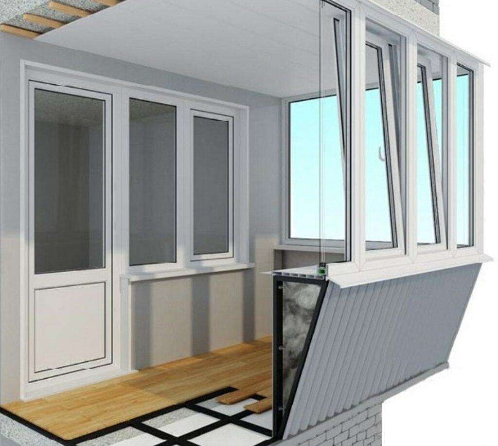 Остекление балкона с выносом по подоконнику